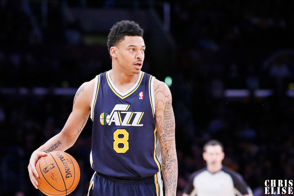 11 February 2014: Utah Jazz point guard Diante Garrett (8) looks to pass the ball during the Utah Jazz 96-79 victory over the Los Angeles Lakers at the Staples Center, Los Angeles, California, USA.