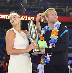 WUHAN, Sept. 29, 2018  Aryna Sabalenka (L) of Belarus poses with her coach during the trophy ceremony after winning the singles final match against Anett Kontaveit of Estonia at the 2018 WTA Wuhan Open tennis tournament in Wuhan, central China's Hubei Province, on Sept. 29, 2018. Aryna Sabalenka won 2-0 and claimed the title. (Credit Image: © Xiao Yijiu/Xinhua via ZUMA Wire)