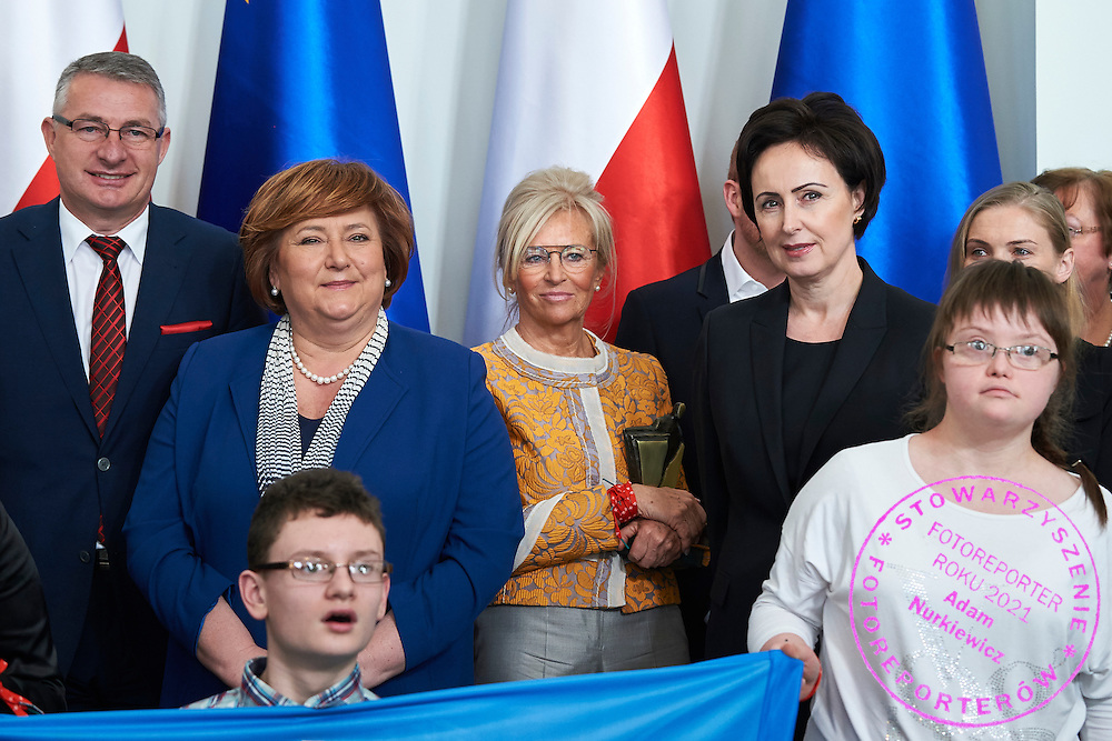 (L) Anna Komorowska First Lady of Republic Poland and (C) Katarzyna Frank Niemczycka President of Special Olympics Poland and (R) Dorota Idzi pose with disability athletes to family photo during 30 years anniversary of The Special Olympics Poland at Presidential Palace in Warsaw on March 18, 2015.<br /> <br /> Poland, Warsaw, March 18, 2015<br /> <br /> For editorial use only. Any commercial or promotional use requires permission.<br /> <br /> Mandatory credit:<br /> Photo by &copy; Adam Nurkiewicz / Mediasport