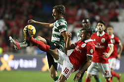January 3, 2018 - Lisbon, Portugal - Sporting's defender Fabio Coentrao (L) vies with Benfica's forward Eduardo Salvio (2ndL) during the Portuguese League  football match between SL Benfica and Sporting CP at Luz  Stadium in Lisbon on January 3, 2018. (Credit Image: © Carlos Costa/NurPhoto via ZUMA Press)