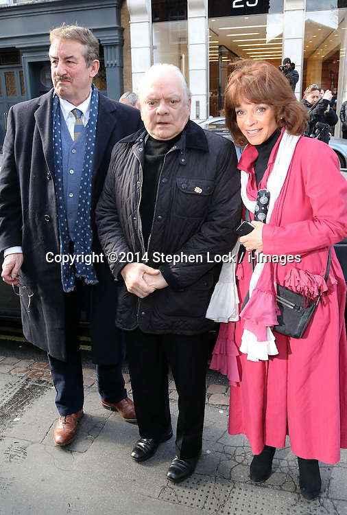 Actors John Challis who played Boycie, Sir David Jason (Del Boy) and Sue Holderness (Marlene) arriving for the funeral of Roger Lloyd-Pack alias Trigger from the TV comedy Only fools and Horses at St.Paul's Church in  London, Thursday, 13th February 2014. Picture by Stephen Lock / i-Images
