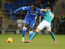 Cardiff City's Kenwyne Jones Battles for the ball with Blackburn Rovers's Tom Cairney - Photo mandatory by-line: Alex James/JMP - Mobile: 07966 386802 - 17/02/2015 - SPORT - Football - Cardiff - Cardiff City Stadium - Cardiff City v Blackburn Rovers - Sky Bet Championship