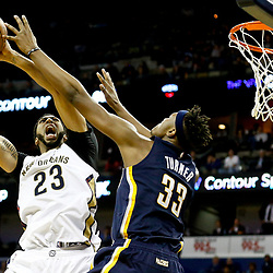 Dec 15, 2016; New Orleans, LA, USA; New Orleans Pelicans forward Anthony Davis (23) shoots over Indiana Pacers center Myles Turner (33) during the fourth quarter of a game at the Smoothie King Center. The Pelicans defeated the Pacers 102-95. Mandatory Credit: Derick E. Hingle-USA TODAY Sports