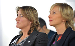 UK Sport chair Dame Katherine Grainger, and UK Sport director of performance, Chelsea Warr, during the press conference to announce the UK Sport medal target for the Winter Olympics and Paralympics at the Korean Cultural Centre UK in London.