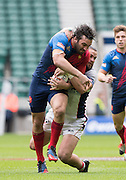 Twickenham. UK. USA's Danny BARRETT, pull's down, Frances, Jean Baptiste MAZOUE, to end the Frenchhman's breakway from the  start at the 2015. USA vs France, Marriott London Sevens. RFU Twickenham Stadium. Surrey. 16.05.2015. [Mandatory Credit: Peter Spurrier/Intersport Images]