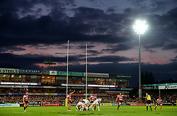 Exeter's Nic White passes from the ruck during the Aviva Premiership match at the Kingsholm Stadium, Gloucester.