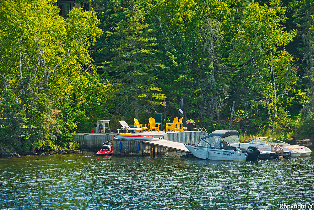 Chairs on dock on Lake of the Woods<br />