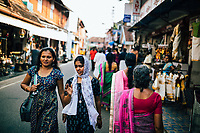 Fort Kochi, India -- February 12, 2018: The streets of Mattancherry, the original Jewish settlement and origin of the spice route in Fort Kochi.