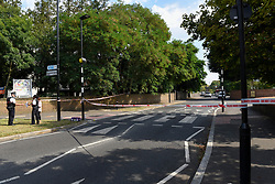 © Licensed to London News Pictures. 25/08/2019. SOUTHALL, UK.  The scene adjacent to St Mary's Avenue near Southall in west London.  It is reported that a man in his 60s was stabbed outside The Plough pub on Tentelow Avenue in the early evening of 24 August and stumbled to nearby St Mary's Avenue to seek aid from a residence.  Police were called at 6.41pm, paramedics and air ambulance crews attended but the man passed away.  A man in his 30s has been arrested on suspicion of murder.  The investigation continues. Photo credit: Stephen Chung/LNP