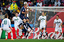 Jay DeMerit of USA during the 2010 FIFA World Cup South Africa Group C match between Slovenia and USA at Ellis Park Stadium on June 18, 2010 in Johannesberg, South Africa. (Photo by Vid Ponikvar / Sportida)