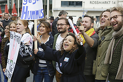 October 7, 2018 - Frankfurt, Hesse, Germany - Protesters shout at the rally. Around 250 people followed the call of several Jewish organisation, to protest in Frankfurt against the founding of the Jews in the AfD group, which they see as a fig-leaf for the far right AfD (Alternative for Germany) party. (Credit Image: © Michael Debets/Pacific Press via ZUMA Wire)