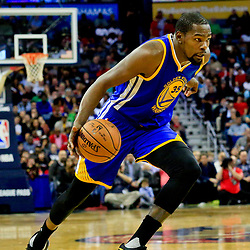 Oct 28, 2016; New Orleans, LA, USA;  Golden State Warriors forward Kevin Durant (35) drives to the basket against the New Orleans Pelicans during the first quarter of a game at the Smoothie King Center. Mandatory Credit: Derick E. Hingle-USA TODAY Sports