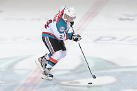 KELOWNA, CANADA - FEBRUARY 18: Tyson Baillie #24 of the Kelowna Rockets skates with the puck during the shoot out against the  Red Deer Rebels at the Kelowna Rockets on February 18, 2012 at Prospera Place in Kelowna, British Columbia, Canada (Photo by Marissa Baecker/Shoot the Breeze) *** Local Caption ***