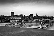 Henley-on-Thames.  United Kingdom. General View, GV, crews boating, for their early morning training session, preparing for the 2017 Henley Royal Regatta, Henley Reach, River Thames. <br /> <br /> 07:11:56  Tuesday  27/06/2017   <br /> <br /> [Mandatory Credit. Peter SPURRIER/Intersport Images.