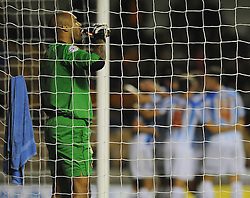 Wolverhampton Wanderers' Carl Ikeme takes a swig of his drink as Huddersfield United celebrate the first goal of the game - Photo mandatory by-line: Dougie Allward/JMP - Mobile: 07966 386802 - 01/10/2014 - SPORT - Football - Wolverhampton - Molineux Stadium - Wolverhampton Wonderers v Huddersfield Town - Sky Bet Championship