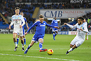 Craig Noone of Cardiff City takes on Jordan Amavi of Aston Villa during the EFL Sky Bet Championship match between Cardiff City and Aston Villa at the Cardiff City Stadium, Cardiff, Wales on 2 January 2017. Photo by Andrew Lewis.