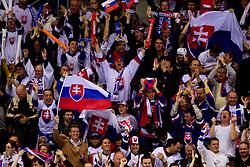 Fans of Slovakia celebrate during ice-hockey match between Slovakia and Slovenia of Group A of IIHF 2011 World Championship Slovakia, on April 29, 2011 in Orange Arena, Bratislava, Slovakia. Slovakia defeated Slovenia 3-1. (Photo By Vid Ponikvar / Sportida.com)