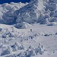 Alberto Carrera, Skiers, Ski Touring, Navacerrada, Guadarrama National Park, Madrid, Spain, Europe.