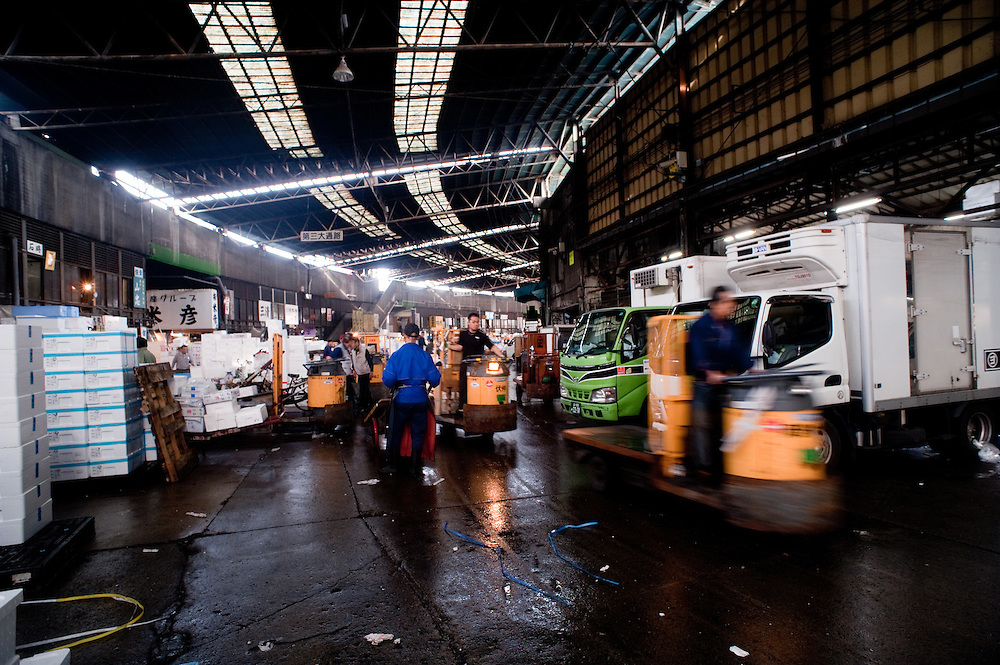 Workers with hand carts and mechanical movers, Tsukiji Fish Market, Tokyo, Japan.