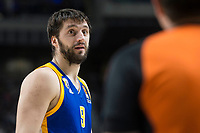 Khimki Moscow Stefan Markovic talking with the referee during Turkish Airlines Euroleague match between Real Madrid and Khimki Moscow at Wizink Center in Madrid, Spain. November 02, 2017. (ALTERPHOTOS/Borja B.Hojas)