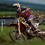 17-year-old Spanish rider, Jorge Prado, is under the careful management of Antonio Cairoli's team boss, Claudio di Carli. It seems to be working. He holeshots nearly every time he lines up and his conditioning (an issue last year) seems not to be an issue any longer. He and current world champion, and red plate holder, Pauls Jonass, ran away from the pack in the qualifier Saturday and both motos Sunday.