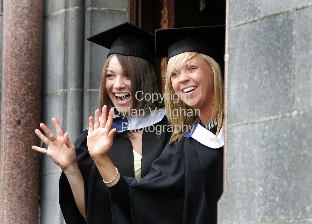 19/10/2005.Pictured yesterday at the conferring of academic awards at Waterford Institute of Technology was from left Linda Butler Ballinakill County Laois and Fiona Cleary Clonmel County Tipperary who both graduated with a BA in Legal Studies..Picture Dylan Vaughan