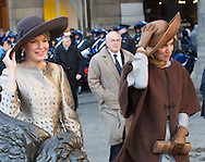 Amsterdam , 28-11-2016 <br /> <br /> State Visit of King Filip and Queen Mathilde to The Netherlands.<br /> <br /> Arrival Ceremony Greeting by King Willem-Alexander and Queen Maxima<br /> <br /> <br /> <br /> COPYRIGHT ROYALPORTRAITS EUROPE/ BERNARD RUEBSAMEN