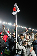PENALTIES Charlton Athletic football fans, football supporters  celebrate during the pitch invasion after the EFL Sky Bet League 1 second leg Play-Off match between Charlton Athletic and Doncaster Rovers at The Valley, London, England on 17 May 2019.
