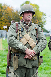 A Re-enactor portrayiing a member of the 82nd All American Airborne Division during a battle battle re-enactment in on Pickering Showground<br /> <br /> 17/18 October 2015<br />  Image © Paul David Drabble <br />  www.pauldaviddrabble.co.uk