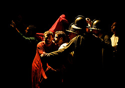 "Actors create a tableau representing 16th century Italian painter Michelangelo Merisi Caravaggio's painting ""The Taking of Christ"" during the play ""Caravaggio - The Inquiry"" by Maltese playwright Joe Friggieri at the Manoel Theatre in Valletta October 18, 2007.  Malta is commemorating the 400th anniversary of Caravaggio's arrival on the island, where he stayed for almost a year, producing some of his most famous works..REUTERS/Darrin Zammit Lupi (MALTA).MALTA OUT"