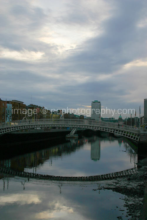 View of Dublin city over the River Liffey
