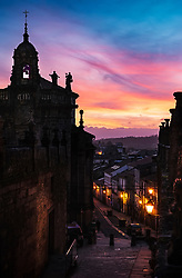 The old center of Santiago de Compostela at sunset.