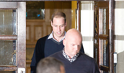 © Licensed to London News Pictures. 05/12/2012. London, UK. Prince William, Duke of Cambridge, leaves the King Edward VII Hospital in London today (05/12/12) after visiting his wife Kate, Duchess of Cambridge, who is staying at the hospital after being diagnosed with hyperemesis gravidarum, a severe form of morning sickness. Photo credit: Matt Cetti-Roberts/LNP