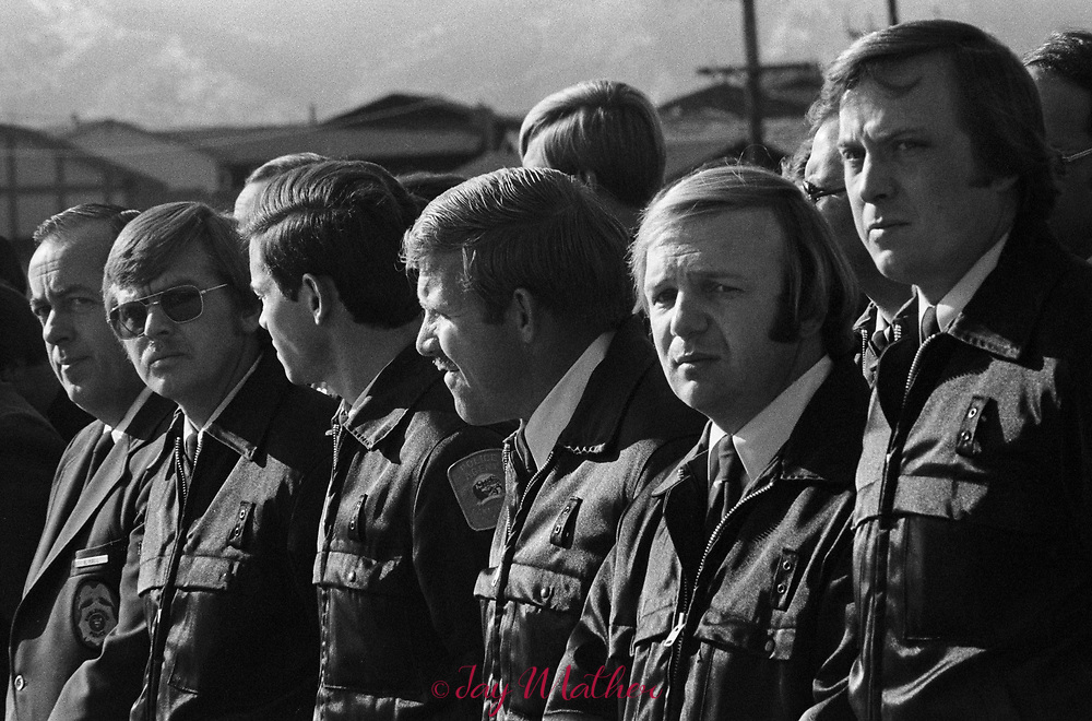 Funeral for fallen Denver Police officer Donald DeBruno., December, 1975. He was 30. More than 1500 people, mostly law enforcement officers. attended the Mass of Christian Burial at St. Jude Church in Lakewood, CO.<br /> <br /> Roy Allen Embry shot and killed Denver Police officer Donald DeBruno, December 10, 1975.<br /> <br /> DeBruno, the father of two, had joined the force in 1969 and was promoted to detective on homicide detail three months before he died. He was shot twice in the chest on each side of the heart outside what was then the Continental Trailways bus depot in downtown Denver.<br /> <br /> Embry was wanted in connection with the shooting of a hotel employee in Toronto and had killed three other officers in the United States and Canada, according to police.<br /> <br /> Embry died in prison in 2013.