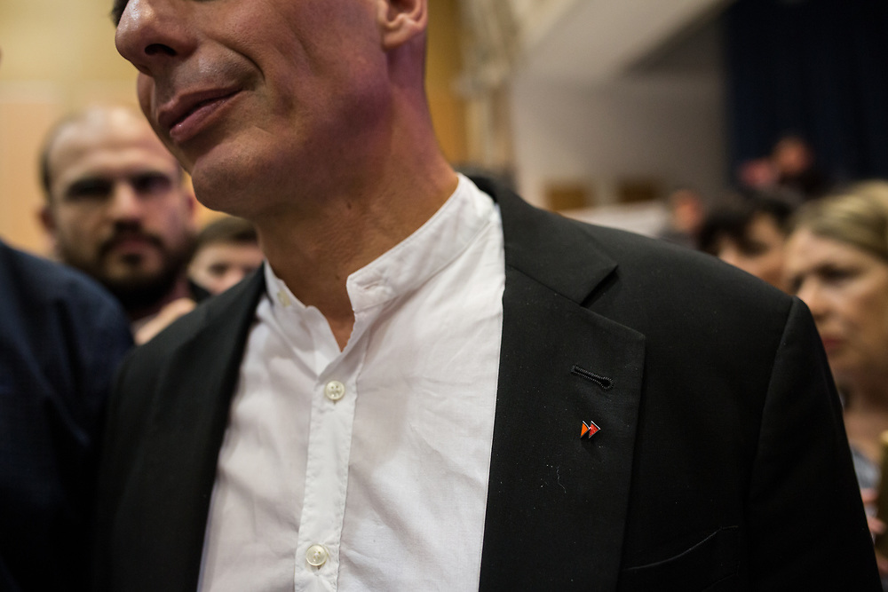 Yanis Varoufakis during the central event of the DiEM25 political movement at Vellidio Conference Center in Thessaloniki, Greece, on the 29th of April 2017.