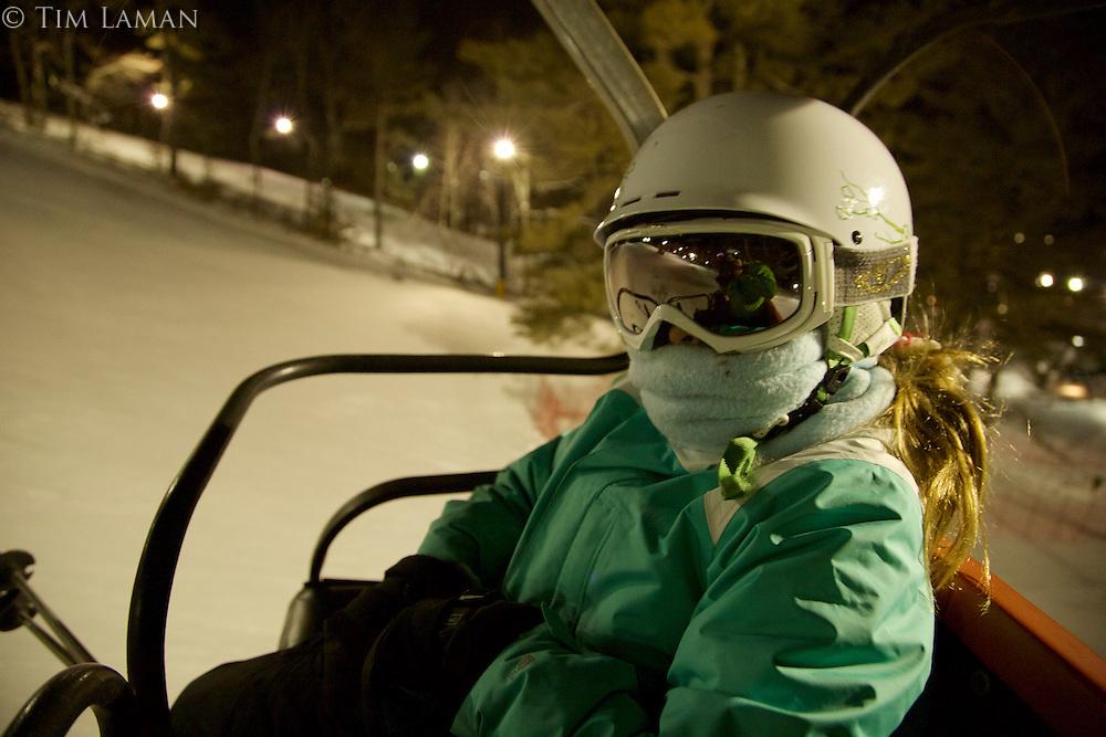 Jessica Laman (age 9) night skiing at Nashoba Valley, Massachusetts
