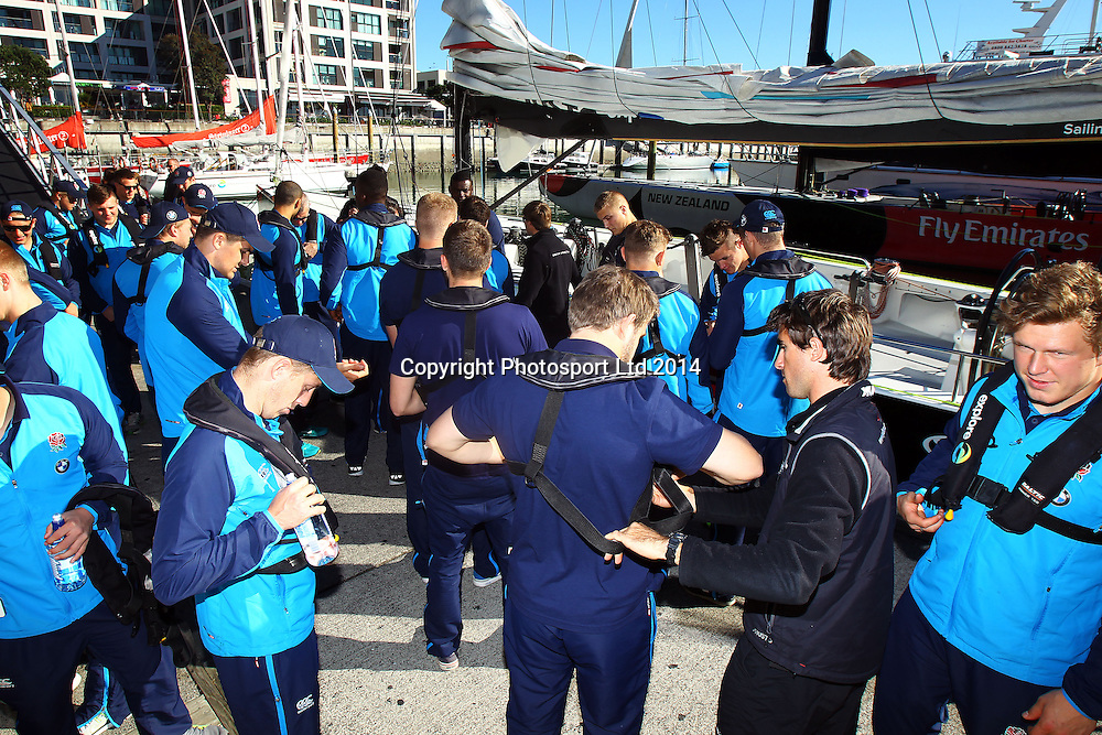 U20 Rugby World Cup, England sail on an Americas Cup yacht on the Auckland Harbour ahead of the start of the U20 Rugby World Cup in Auckland, New Zealand.  28 May 2014. Photo: William Booth/www.photosport.co.nz