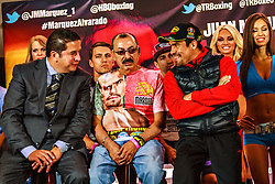 INGLEWOOD, California/USA (Thursday May 15, 2014) -  Boxer Juan Manuel Marquez (55-7-1, 390 KO) and Mike Alvarado (33-3-0, 22 KO) attend their final press conference for their up coming fight May 17, 2014 at The Forum in Inglewood,CA USA. 15th May 2014. Fees must be agreed for image use. Byline, credit, TV usage, web usage or linkback must read: © SILVEXPHOTO.COM.
