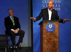 15 March 2008. New Orleans, Louisiana.<br /> Former President Bill Clinton hosts the inaugural meeting of the Clinton Global Initiative at Tulane University. Clinton introduces Ray Nagin, Mayor of New Orleans.<br /> Photo; Charlie Varley/varleypix.com
