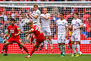 Leyton Orient forward Jordan Maguire-Drew (10) shoots towards the goals from a free kick during the FA Trophy final match between AFC Flyde and Leyton Orient at Wembley Stadium on 19 May 2019.