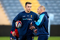 Worcester Warriors Academy Back Transition Coach Gordon Ross speaks with Luke Scully of Worcester Cavaliers - Mandatory by-line: Robbie Stephenson/JMP - 24/09/2018 - RUGBY - Sixways Stadium - Worcester, England - Worcester Cavaliers v Sale Jets - Premiership Rugby Shield
