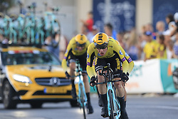Team Jumbo-Visma in action during Stage 1 of La Vuelta 2019, a team time trial running 13.4km from Salinas de Torrevieja to Torrevieja, Spain. 24th August 2019.<br /> Picture: Eoin Clarke | Cyclefile<br /> <br /> All photos usage must carry mandatory copyright credit (© Cyclefile | Eoin Clarke)