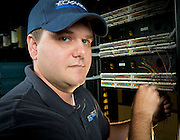 Eckardt Electric technician working at a server farm.