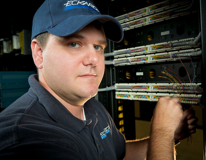 Eckardt Electric technician working at a server farm.