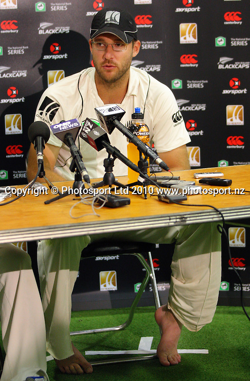 NZ captain Daniel Vettori talks to the media after the 10-wicket defeat.<br /> 1st cricket test match - New Zealand Black Caps v Australia, day five at the Basin Reserve, Wellington. Tuesday, 23 March 2010. Photo: Dave Lintott/PHOTOSPORT