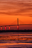 Sunshine Skyway Bridge at Dawn from Fort De Soto Park. 5 of 13 images taken with a Fuji X-H1 camera and 200 mm f/2 OIS lens (ISO 400, 200 mm, f/4, 1/8 sec). Raw images processed with Capture One Pro and AutoPano Giga Pro.