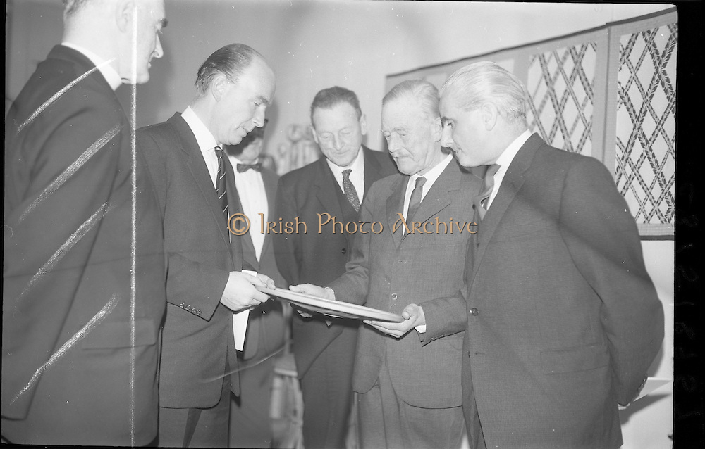 03/02/1964<br /> 02/03/1964<br /> 03 February 1964 <br /> Opening of Coras Trachtala Japanese Design Exhibition at Municipal Art Gallery, (The Hugh Lane Gallery) Dublin. Picture shows (l-r): Rev. Fr Donal O'Sullivan, SJ, Chairman Art Council; Dr P.J. Hillery, Minister for Education; Mr John Haughey, Chairman C.T.T.; Dr Gunner Biilman Peterson, Royal Danish Academy and Mr James White, Municipal Art Gallery.