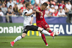 June 18, 2017 - Tychy, Poland - Maximilian Arnold of Germany fights for the ball with Patrik Schilk of Czech during the UEFA European Under-21 Championship 2017 Group C match between Germany and Czech Republic at Tychy Stadium in Tychy, Poland on June 18, 2017  (Credit Image: © Andrew Surma/NurPhoto via ZUMA Press)