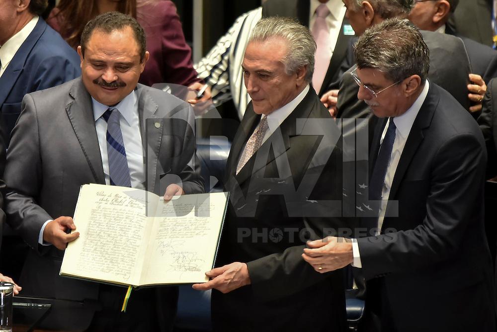 BRASÍLIA, DF, 31.08.2016 – POSSE-TEMER – Cerimônia de pose presidencial de Michel Temer, no Plenário do Senado Federal, na tarde desta quarta-feira, 31. (Foto: Ricardo Botelho/Brazil Photo Press)