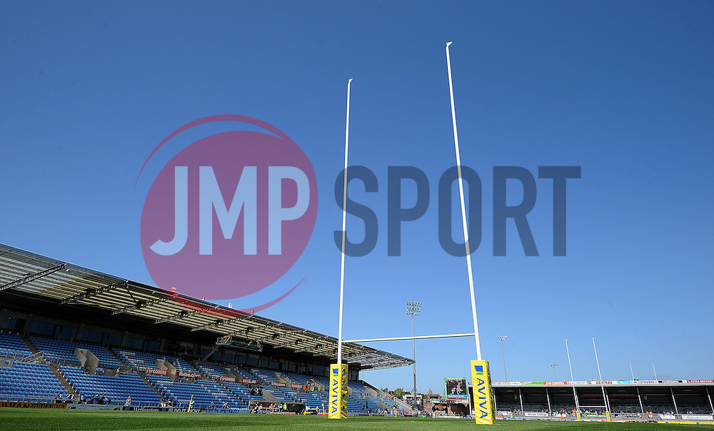 General view of Sandy Park prior to kick off. Photo mandatory by-line: Harry Trump/JMP - Mobile: 07966 386802 - 16/05/15 - SPORT - RUGBY - Aviva Premiership - Exeter Chiefs v Sale Sharks - Sandy Park, Exeter, England.